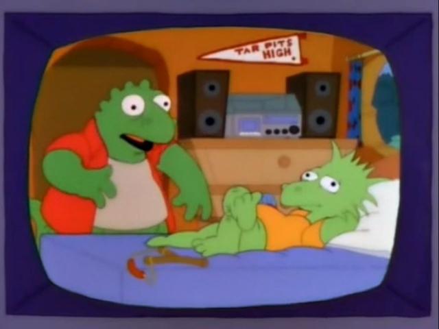"""""""Hey, don't have a Stegosaurus, man!"""" Auf den ersten Blick sind die Sinclairs genauso zusammengesetzt wie die Simpsons – Vater Mutter, Sohn, Tochter, Baby. Die Charaktere der Elternpaare sind sogar weitestgehend identisch. Doch gibt es bei den Kindern feine Unterschiede. So nimmt Robbie bei den DINOS nicht Barts Rolle ein, sondern die von Lisa, während es für Charlene keine wirkliche Entsprechung in der gelben Familie gibt."""